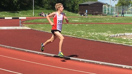 Ben Peck on his way to third place in the under-15 boys' 1,500m race. Picture: CARL MARSTON