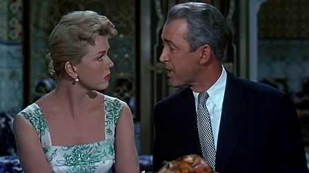 Doris Day and James Stewart in Alfred Hitchcock's The Man Who Knew Too Much where she ventured into