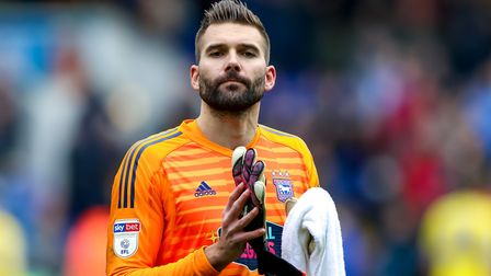 Bartosz Bialkowski applauds the Ipswich Town fans following the final game of the season against Lee