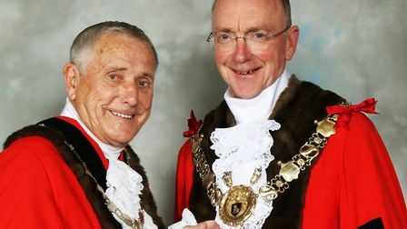 New mayor of Sudbury Robert Spivey, right, with his deputy Jack Owen Picture: SUDBURY TOWN COUNCIL