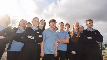 Pupils from Thurston Community College protested against the cuts last year Picture: GREGG BROWN