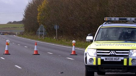 Police closed a stretch of the southbound A11 on Saturday morning Picture: ARCHANT