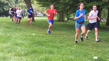 Runners tackle a grassy section of the Hilly Fields parkrun last Saturday. Picture: CARL MARSTON