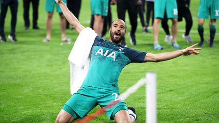 Hat-trick hero Lucas Moura celebrates after the final whistle in Amsterdam Photo: PA