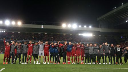 Liverpool celebrate after the UEFA Champions League semi-final, second leg match at Anfield. Photo: