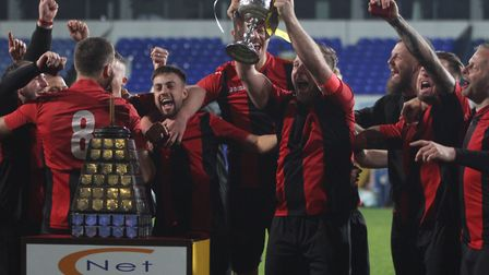 Achilles celebrate their second Suffolk Senior Cup final in three years at Portman Road Picture: ROS