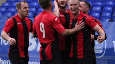 Achilles celebrate their opening goal in the Suffolk Senior Cup final at Portman Road Picture: ROSS