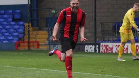 Gavin Van Oene celebrates scoring from the spot for Achilles in the Suffolk Senior Cup final at Port