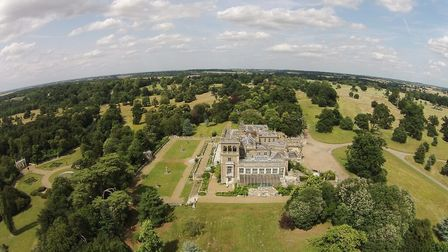 An aerial view of Shrubland Hall Picture: ANGLIA PRESS AGENCY/VAN COLS