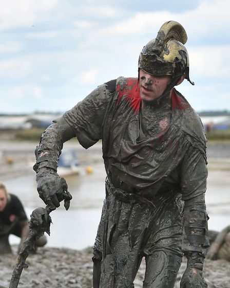 Competitors taking part in the annual Maldon Mud Race. Picture: Joe Giddens/PA Wire
