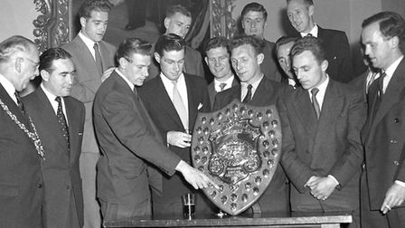 From left: Mayor of Ipswich Dr P Weiner, Alf Ramsey, Neil Myles, Ted Phillips, Billy Reed, Roy Baile