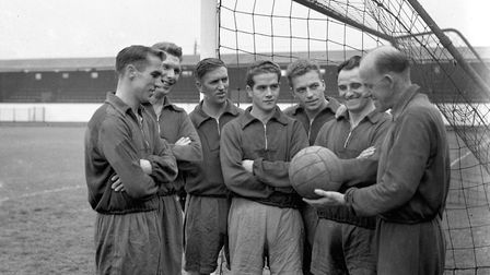 Ipswich Town trainer Jimmy Forsyth (right) with, from the left, Tommy Parker (captain) Dia Rees, Jim