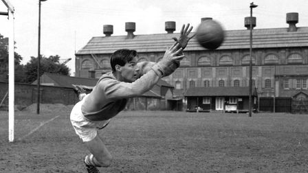 Ipswich Town's goal keeper Roy Bailey during a training session at Portman Road in the early 1960s.