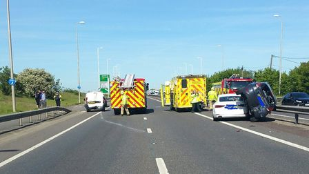 Motorists have been caught in delays after the four vehicle crash in Essex Picture: PC JON HARDY