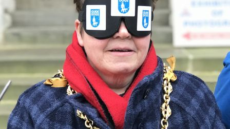 A walk through Ipswich town cventre, blindfolded for the charity, Guide Dogs Picture: ELLA WILKINSON