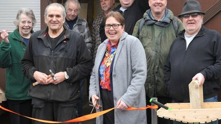 Officially opening ActivGardens new shed. Picture: SARAH LUCY BROWN