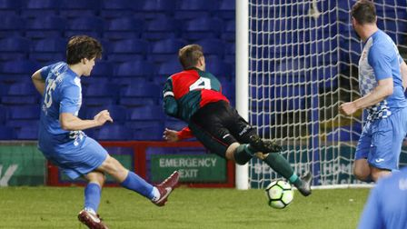 Substitute Tommy Newbigging sidefoots home his second and his side's fourth goal in the final as Bac