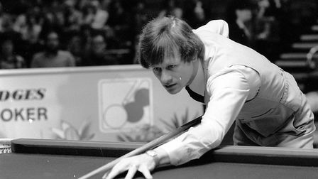 Snooker's fiery star Alex Higgins, in action. Alex was the first Ulsterman to hold the World Profes