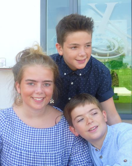 Sasha Campbell and her brothers Hamish and Isaac on GCSE results day Picture: SUPPLIED BY FAMILY
