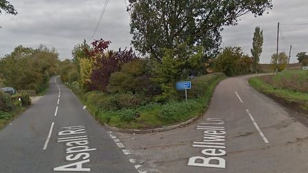 The collision happened on the B1077 (Aspall Road) at the junction with Bellwell Lane Picture: GOOGLE