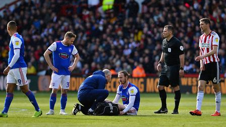 Will Keane injured his hamstring in Town's penultimate game against Sheffield United. Picture: PAGEP