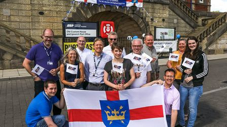 Staff at ABP's Port of Ipswich celebrate Suffolk Day at The Old Custom House, Ipswich, on 21 June 20