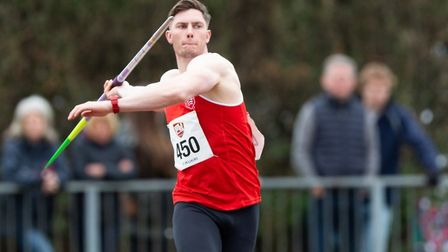 Harry Hughes, in action setting a new record of 78.63m at the BUCS Athletics Championships in Bedfor