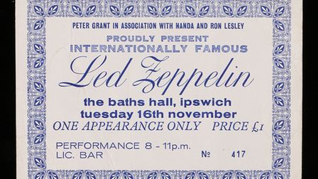 The ticket to the Led Zeppelin gig at The Baths Hall in Ipswich also went under the hammer Picture: