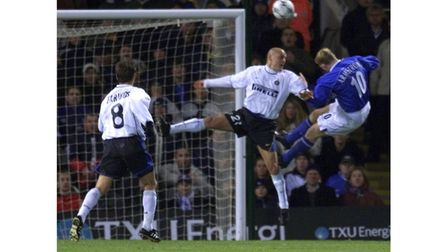 Alun Armstrong heads Ipswich Town in front against Inter Milan in 2002. Photo: PA