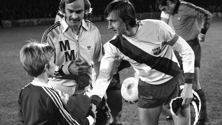 Mick Mills and Johan Cruyff ahead of Ipswich Town's win against Barcelona in 1977. Photo: Archant