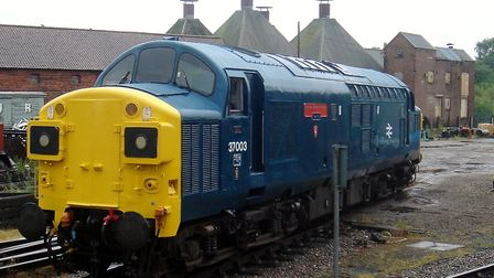 A Class 37 at Dereham on the Mid Norfolk Railway in its Rail Blue livery from the early 1970s. Pictu