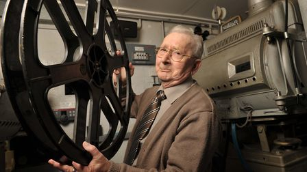 Neville Parry,Britain's oldest working cinema projectionist, photographed on his last day after 40 y