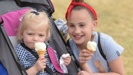 Olivce and Darcy enjoying an ice cream Picture: SARAH LUCY BROWN