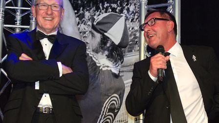 Terry Butcher and Brian Talbot on stage at the gala Picture: Iain Blacklaw