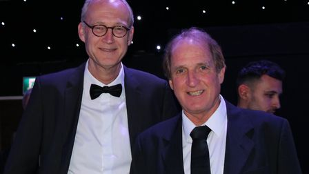 Frans Thijssen, right, with writer Tom van Hulsen, who wrote the book Game Changers about Thijssen a