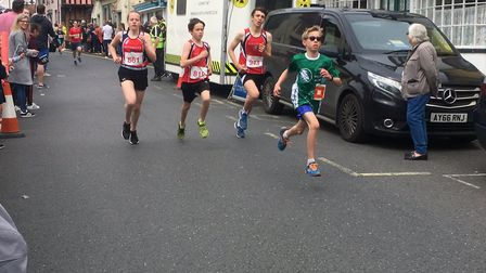 Action from the junior 1.5km race at Woodbridge today. Picture: CARL MARSTON