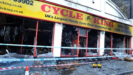 The morning after the serious fire at Cycle King in Bury St Edmunds back in 2017 Picture: ANDY ABBOT