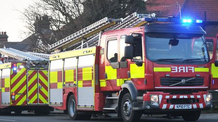 Firefighters were called to the scene of a garage fire in Eye this morning Picture: ARCHANT