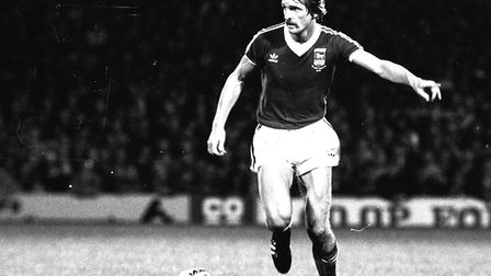 Thijssen in action for Town against Aris Salonika in the UEFA Cup in 1981 Picture: Archant