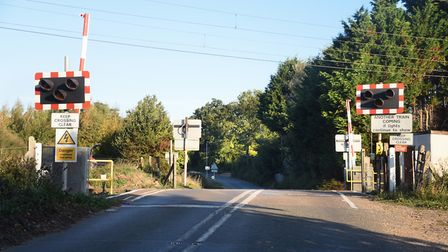 The level crossing at Palgrave where a train collided with Michael Howsen's car. Picture: DENISE BRA