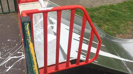 White gloss paint poured over the climbing frame and slide in Aubrey Drive, Sudbury Picture: @MrsHFa
