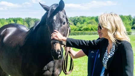 Bananarama's Sara Dallin meets Jack the Giant atThe National Stud Picture: DISCOVER NEWMARKET