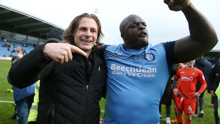 Gareth Ainsworth (left) has offered striker Adebayo Akinfenwa a new deal at Wycombe. Photo: PA