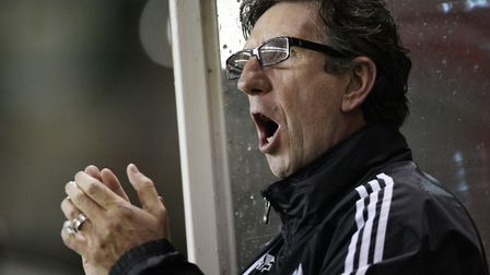 Paul Mariner, as manager of Plymouth, urges his side on during the match against Bristol City