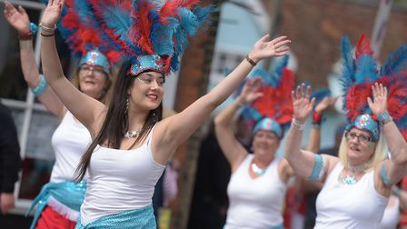 The Suffolk School of Samba brought the carnival spirit to Framlingham Picture: SARAH LUCY BROWN