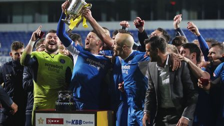 Leiston celebrate winning the 2019 Suffolk Premier Cup final earlier this month. Picture: ROSS HALLS