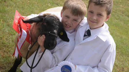 Charlie and William Parry with Dumbo Charlie, 7 years, won young handler 3-7 years at the Suffolk S