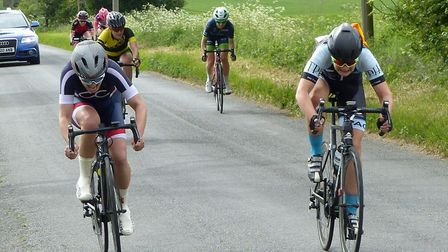 Becky Ridge (TPH Hadleigh, right) takes the win from Heather Mayer (CC London) at Diss. Picture: FER