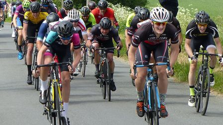 Tom Wright (left) and Philip Large lead the sprint for the minor placings at Diss. Picture: FERGUS M