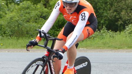 Sue Triplow (CC Sudbury) on the way to the top women's prize at Stowmarket. Picture: FERGUS MUIR